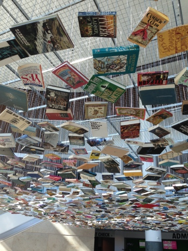 Suspended books in the lobby of the Indianapolis Museum of Art