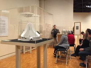Me presenting to the public by Marcel Duchamp's 'Fountain'